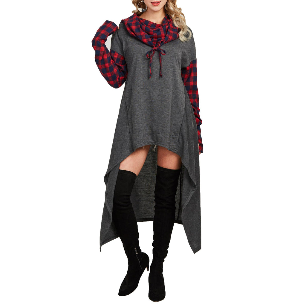 Casual Plaid Collage   Long Hooded sweater Gray m