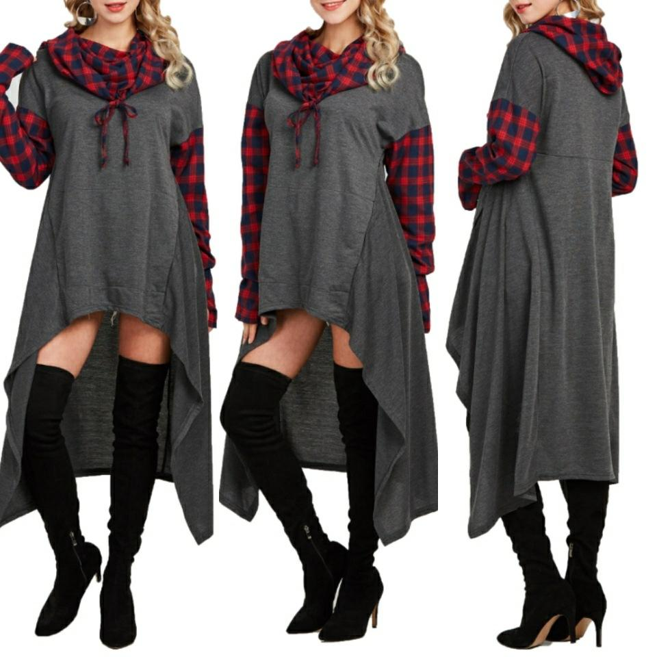 Casual Plaid Collage   Long Hooded sweater Gray 2xl