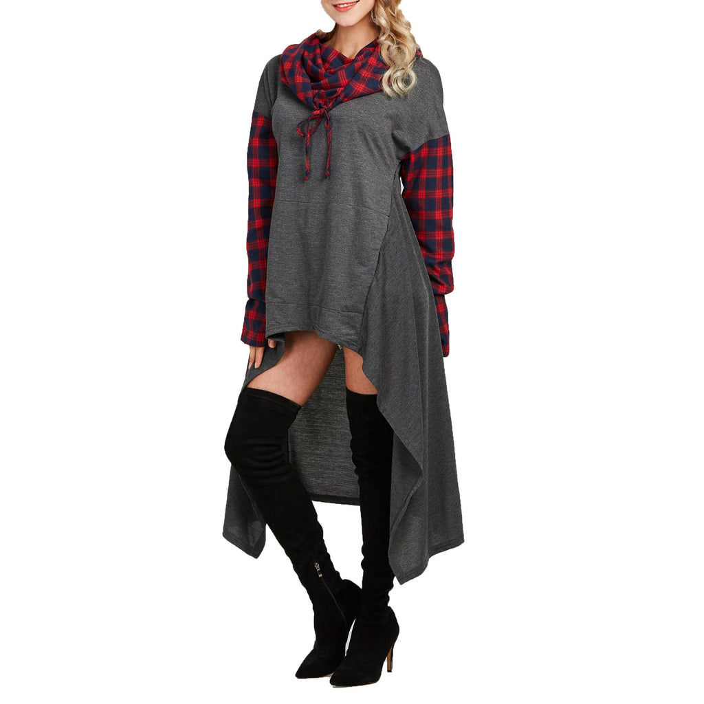 Casual Plaid Collage   Long Hooded sweater Gray l