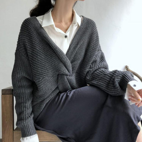 Image of Casual Loose Pure Colour Knitted Sweater Brown one size