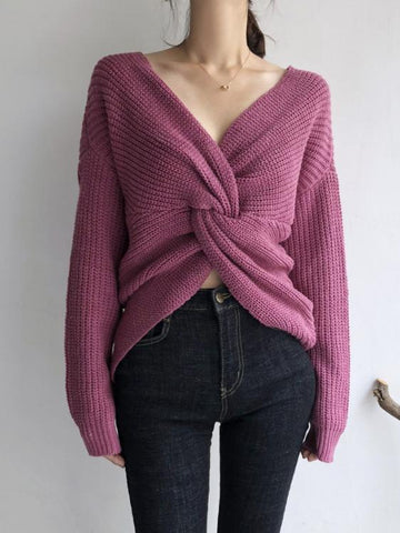 Image of Casual Loose Pure Colour Knitted Sweater