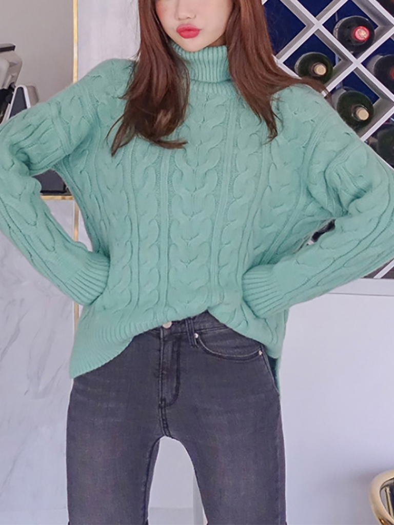 Casual High Collar Pure Colour Loose Long Sleeve Sweater Blue one size