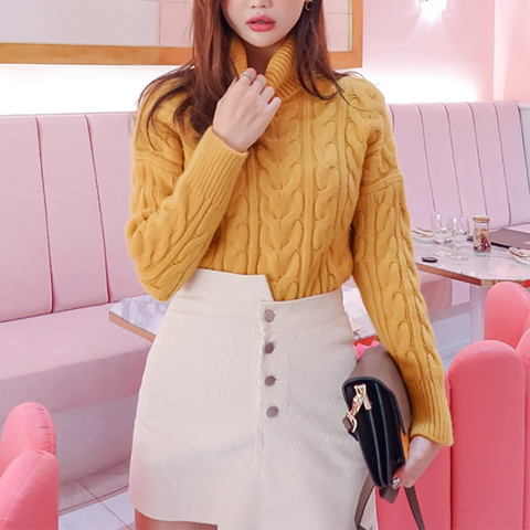 Image of Casual High Collar Pure Colour Loose Long Sleeve Sweater