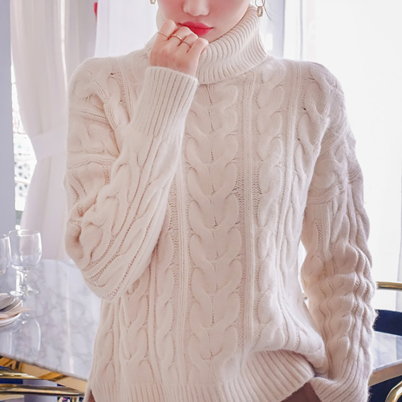 Casual High Collar Pure Colour Loose Long Sleeve Sweater