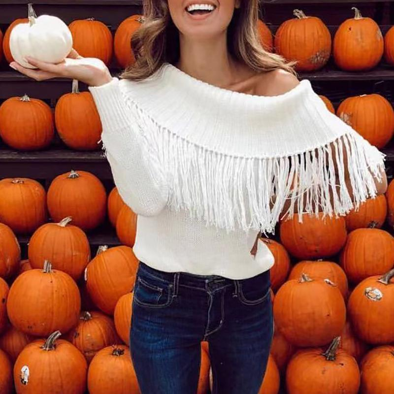 Casual Pure Colour Loose Off-Shoulder Tassel Sweater White l