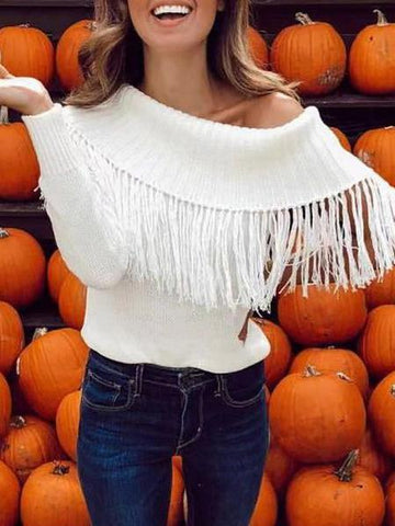 Image of Casual Pure Colour Loose Off-Shoulder Tassel Sweater White m