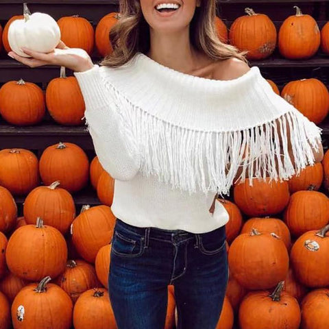 Image of Casual Pure Colour Loose Off-Shoulder Tassel Sweater White l