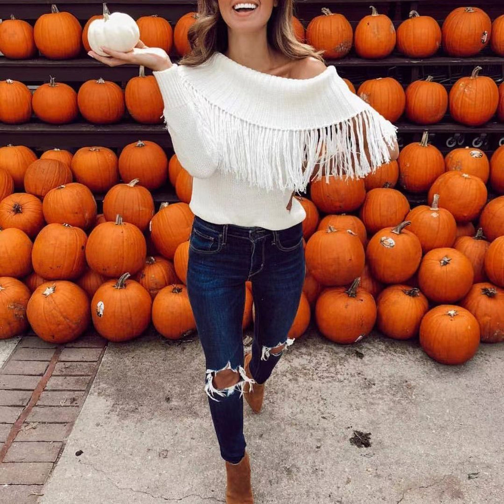 Casual Pure Colour Loose Off-Shoulder Tassel Sweater White xl