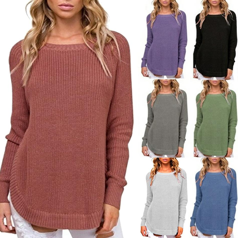 Casual Pure Color   Long-Sleeve Loose Knit Sweater Claret Red l