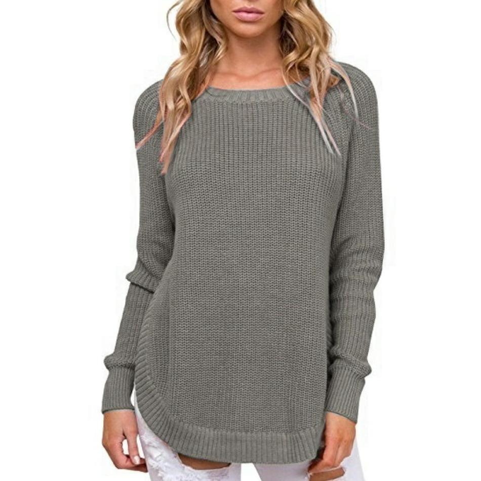 Casual Pure Color   Long-Sleeve Loose Knit Sweater Blue s
