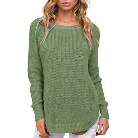 Image of Casual Pure Color   Long-Sleeve Loose Knit Sweater Dark Grey s