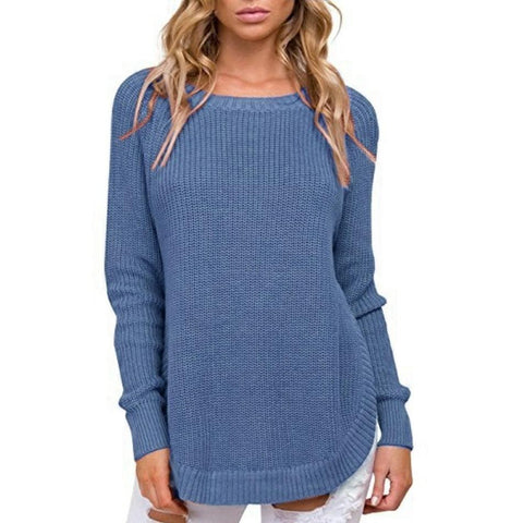 Image of Casual Pure Color   Long-Sleeve Loose Knit Sweater White l