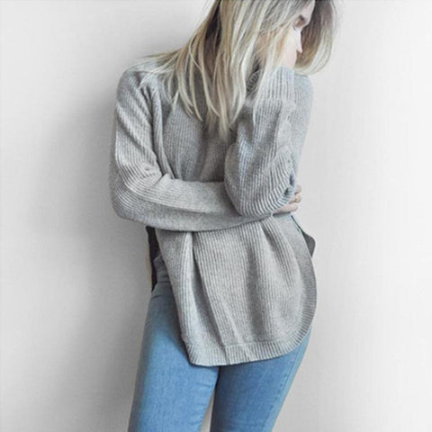 Image of Casual Pure Color   Long-Sleeve Loose Knit Sweater White s