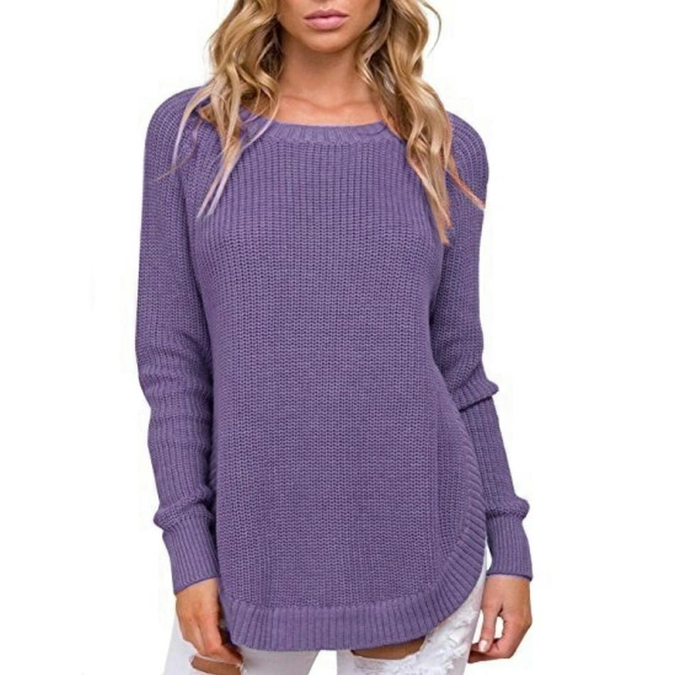 Casual Pure Color   Long-Sleeve Loose Knit Sweater Dark Grey l