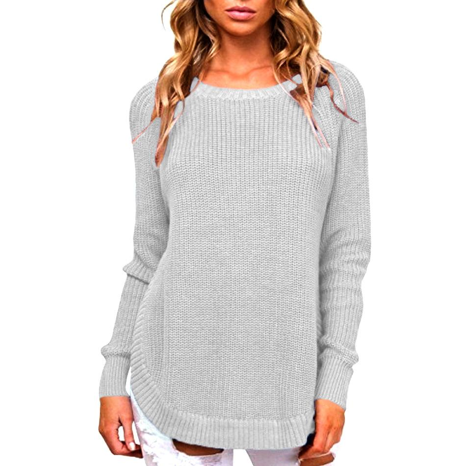 Casual Pure Color   Long-Sleeve Loose Knit Sweater Claret Red xl