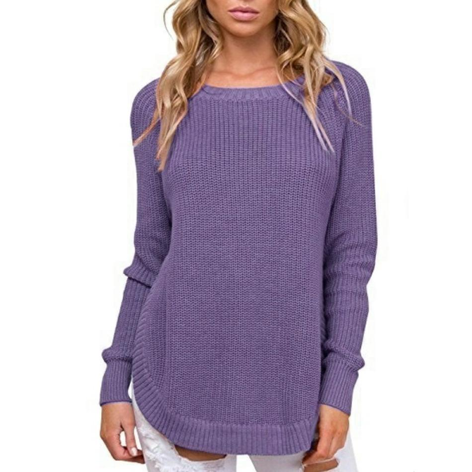 Casual Pure Color   Long-Sleeve Loose Knit Sweater Dark Grey m