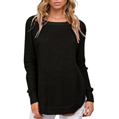 Image of Casual Pure Color   Long-Sleeve Loose Knit Sweater Blue l
