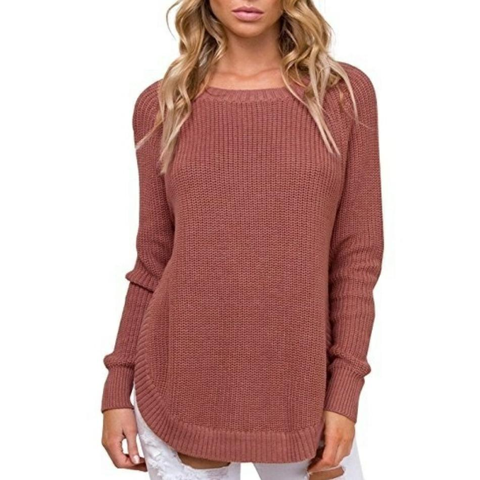 Casual Pure Color   Long-Sleeve Loose Knit Sweater Claret Red m