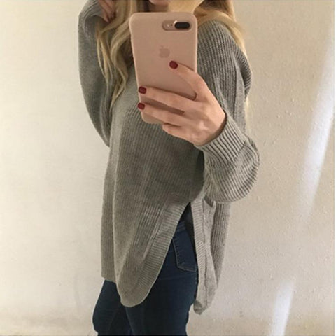 Image of Casual Pure Color   Long-Sleeve Loose Knit Sweater White xl
