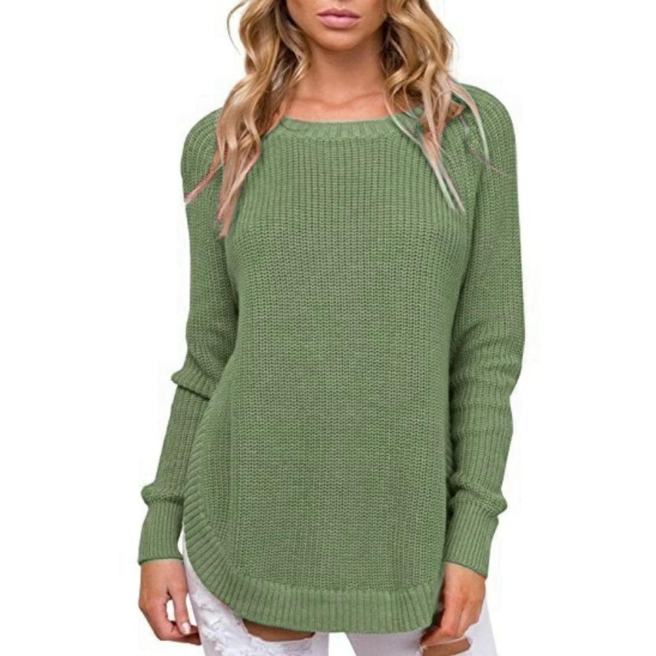 Casual Pure Color   Long-Sleeve Loose Knit Sweater Blue xl
