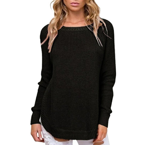 Image of Casual Pure Color   Long-Sleeve Loose Knit Sweater Blue m