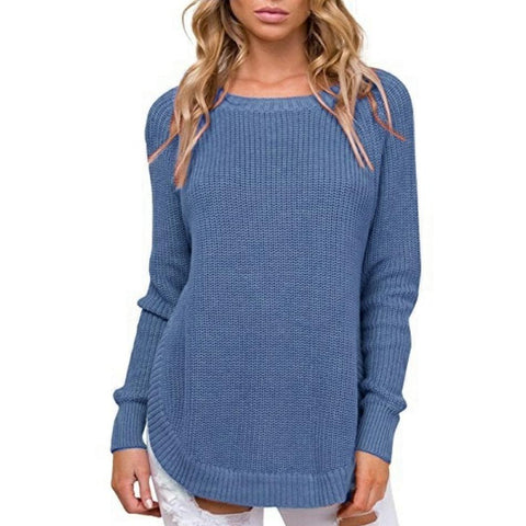 Image of Casual Pure Color   Long-Sleeve Loose Knit Sweater White m