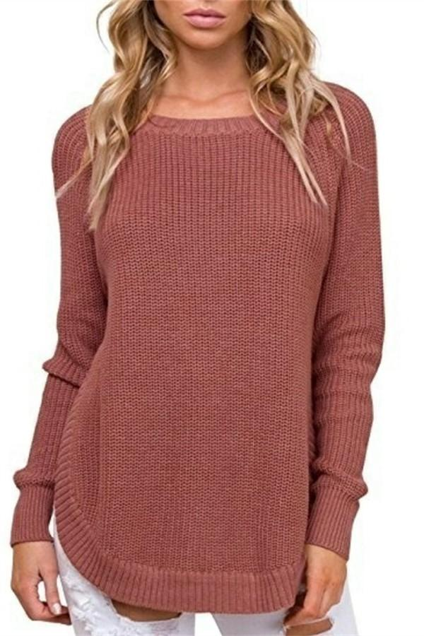 Casual Pure Color   Long-Sleeve Loose Knit Sweater Claret Red s