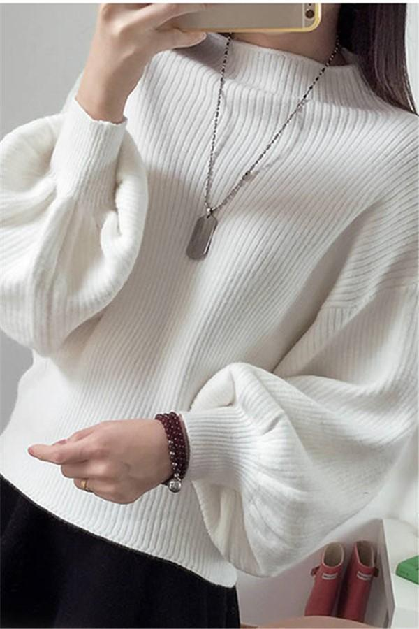 Casual Loose Knit   Sweater With High Neck And Lantern Sleeves White one size