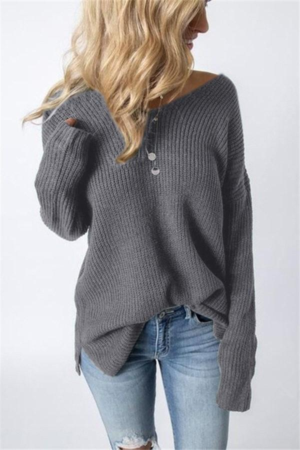Casual Pure Color Slim   Long Sleeve Circular Neck Knit Sweater Gray one size