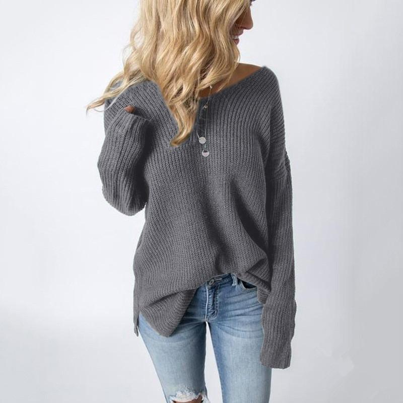 Casual Pure Color Slim   Long Sleeve Circular Neck Knit Sweater Black one size