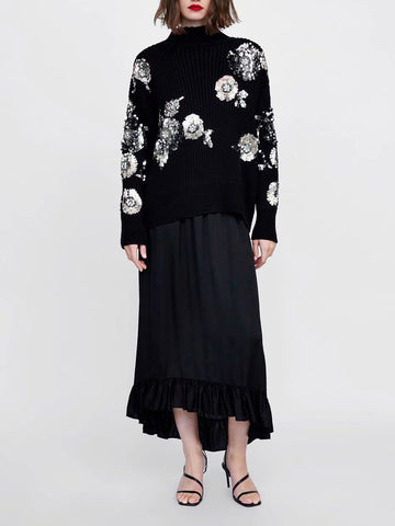Fashion Bead Piece Floral Pattern Knitted Sweater Black l