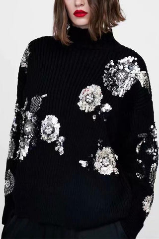 Fashion Bead Piece Floral Pattern Knitted Sweater Black m