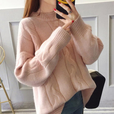 Image of Pure Color Loose Long   Sleeve Casual Knit Sweater Blue one size