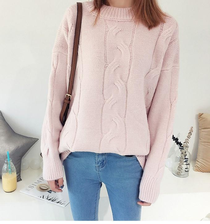 Pure Color Loose Long   Sleeve Casual Knit Sweater Beige one size