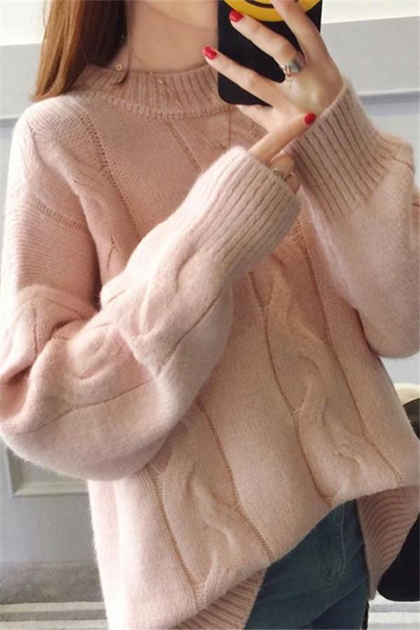 Pure Color Loose Long   Sleeve Casual Knit Sweater Pink one size