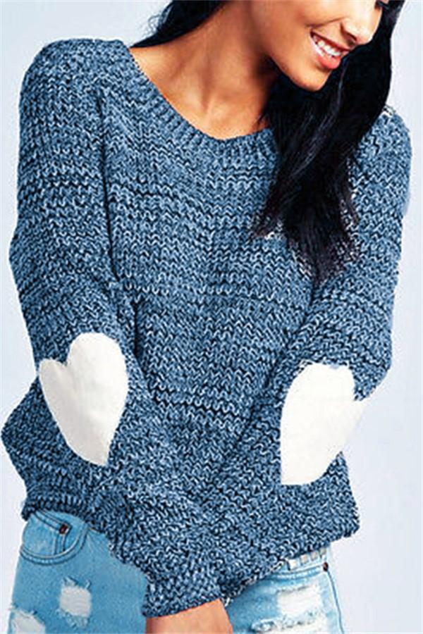 Pure Color Loose Longs   Leeved Elbow Love Patch Knitted Sweaters Blue s