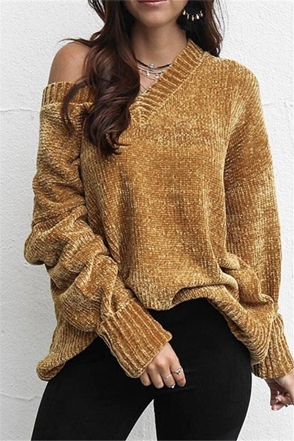 Casual Pure Color   Joker V-Neck Chenille Knitting Sweater Yellow s