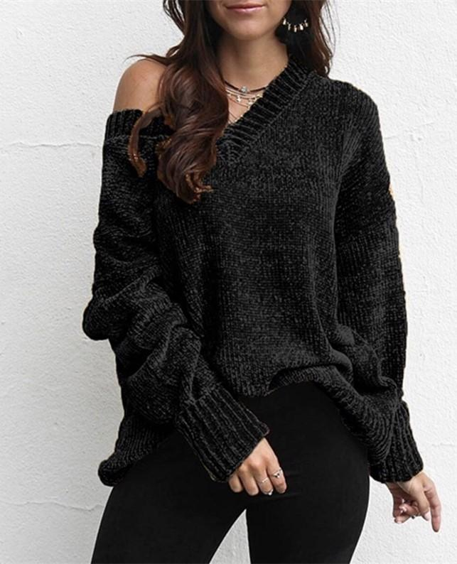 Casual Pure Color   Joker V-Neck Chenille Knitting Sweater Pink s