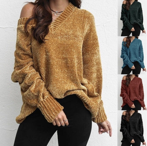 Image of Casual Pure Color   Joker V-Neck Chenille Knitting Sweater Yellow xl