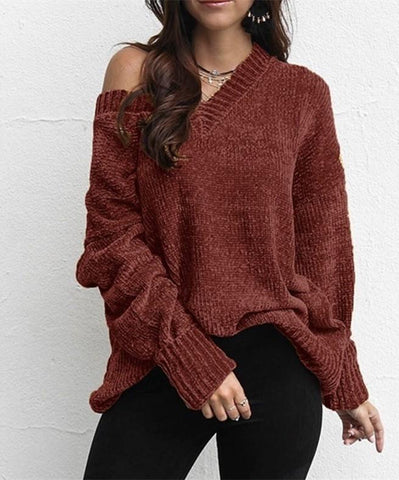 Image of Casual Pure Color   Joker V-Neck Chenille Knitting Sweater Pink l