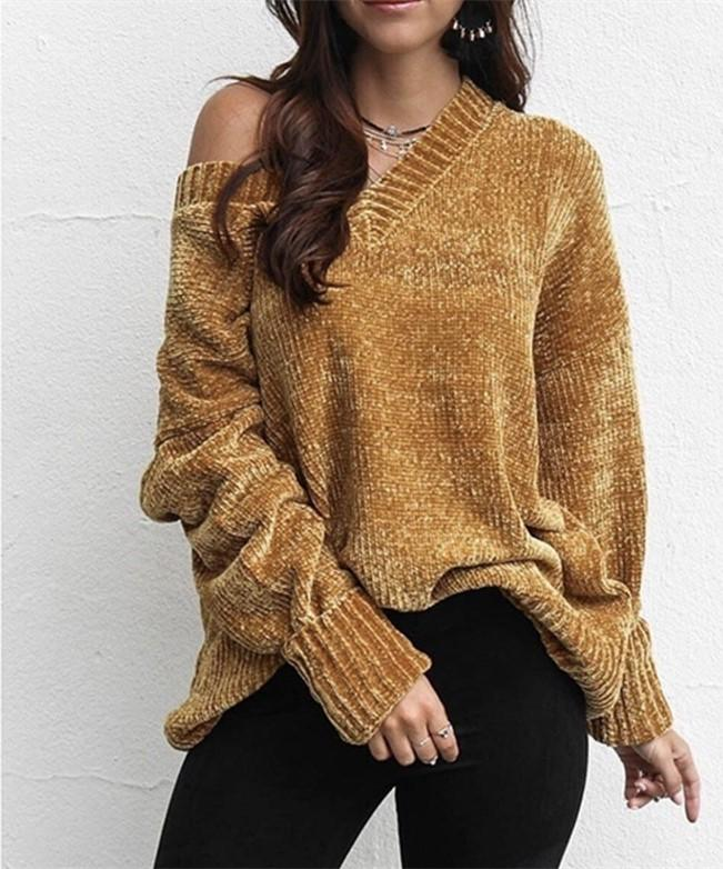 Casual Pure Color   Joker V-Neck Chenille Knitting Sweater Yellow m