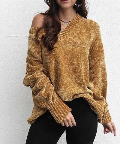 Image of Casual Pure Color   Joker V-Neck Chenille Knitting Sweater Yellow m