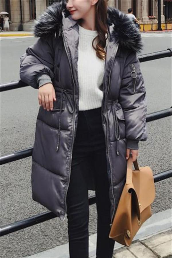 Casual Long Thickening   Bread Puffa Jacket Cotton Padded Jacket Coat Black m