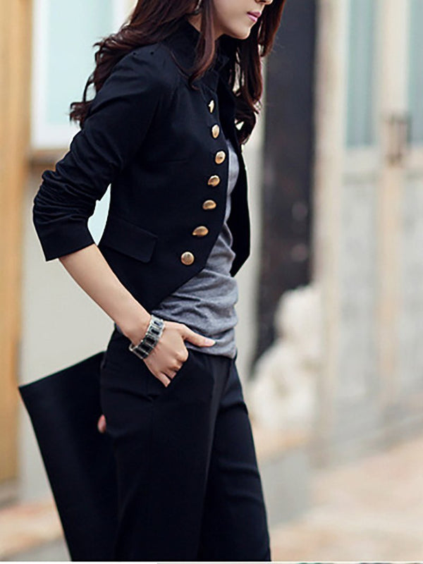 Casual Long Sleeve Pure Colour Slim Small Suit Black m