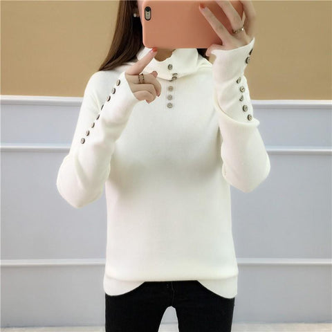 Image of Casual Loose Long   Sleeve Heaps Collar Knitting Sweater Blouse Khaki one size