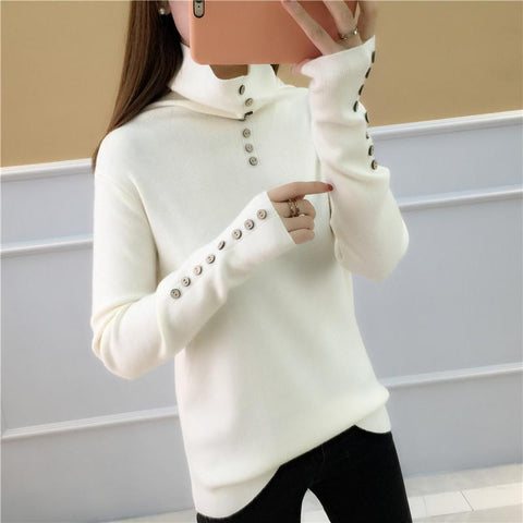 Image of Casual Loose Long   Sleeve Heaps Collar Knitting Sweater Blouse Blue one size