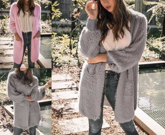 Casual Pure Color Long   Loose Soft Cardigan Pink l