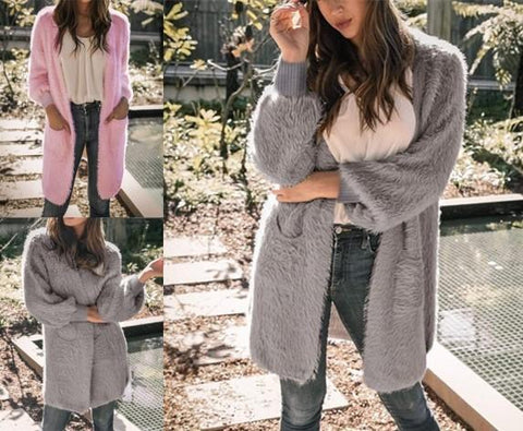 Image of Casual Pure Color Long   Loose Soft Cardigan Pink l