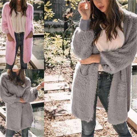 Image of Casual Pure Color Long   Loose Soft Cardigan Pink m
