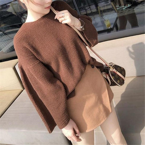 Image of Casual Loose Long   Sleeve Pure Color Knitting Sweater Khaki one size